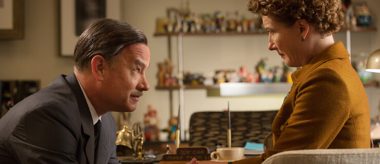 """SAVING MR. BANKS""..Walt Disney (Tom Hanks), left, and P.L. Travers (Emma Thompson), right, in Disney's ""Saving Mr. Banks,"" releasing in U.S. theaters limited on December 13, 2013 and wide on December 20, 2013...Ph: François Duhamel..©Disney Enterprises, Inc. All Rights Reserved.."
